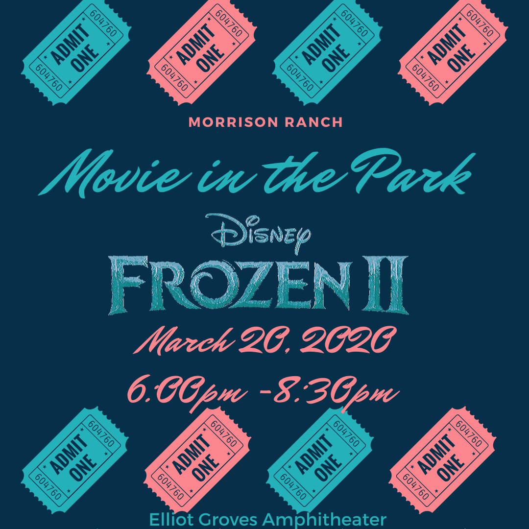 Movie in the Park flyer frozen