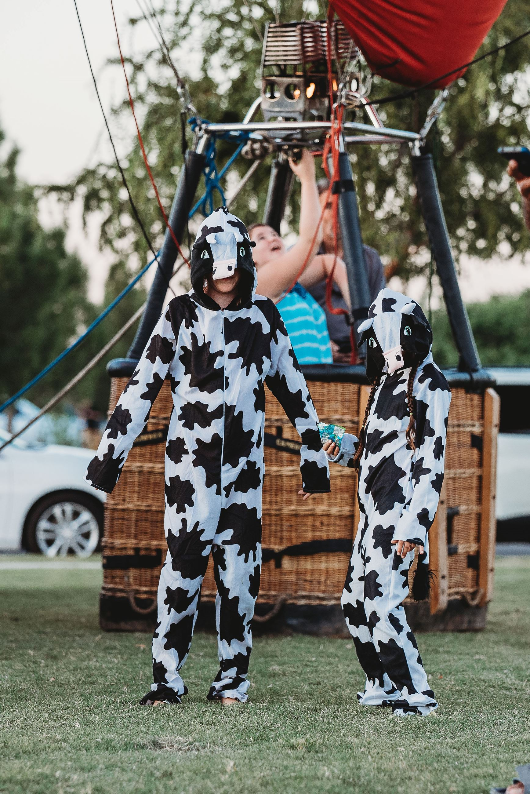 Two People Dressed in Cow Onesies