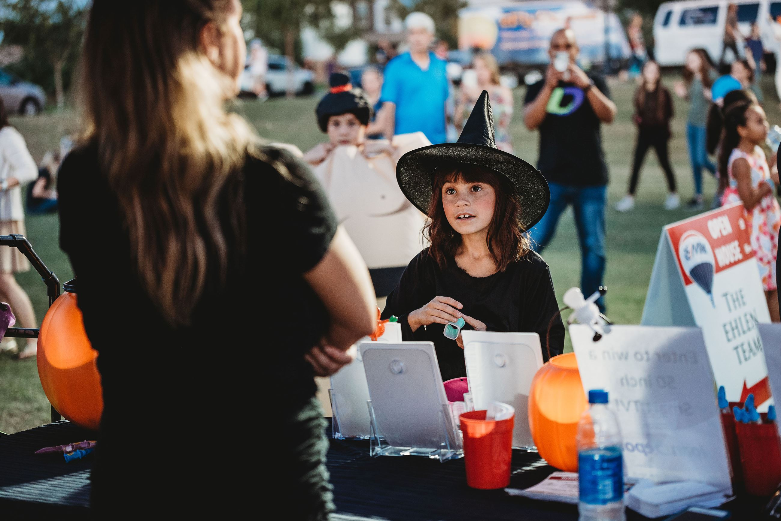 Young Girl Dressed as a Witch About to Play a Fair Game